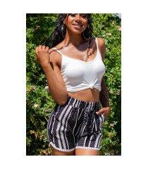 trend hoge taille zomer shorts met print zwart