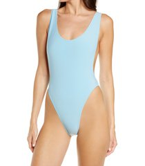 norma kamali marissa one-piece swimsuit, size small in powder blue at nordstrom