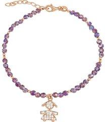 bracciale miss in argento 925 dorato rosé, zirconi e cristalli per donna