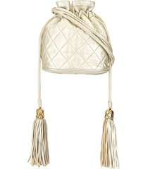 chanel pre-owned 1990s tassel drawstring shoulder bag - gold
