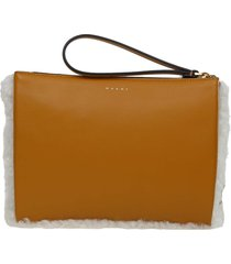 marni small clutch bag in shearling in natural and honey color