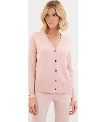 cardigan le lis blanc jasmin iii tricot rosa feminino (blush, gg)
