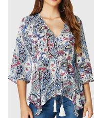 yoins cordón con estampado de paisley diseño blusa de media manga con cuello en v