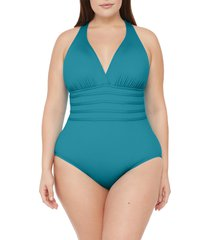 plus size women's la blanca island goddess one-piece swimsuit, size 18w - orange