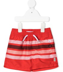boss kidswear striped drawstring swim shorts - red
