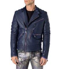 new handmade men navy blue motorbike leather jacket, classic trendy scooter ride