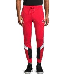 puma men's iconic mcs stretch-cotton track pants - red - size m