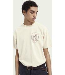 scotch & soda t-shirt met artworkprint en ronde hals van biologisch katoen