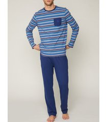 pyjama's / nachthemden admas for men pyjamabroek top zachte strepen blauw admas