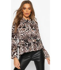 leopard woven pussy bow blouse, black