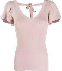 p.a.r.o.s.h. blusa de tricô canelado com mangas bufantes - rosa
