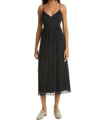 club monaco texture stripe sleeveless cotton blend dress, size 0 in black at nordstrom