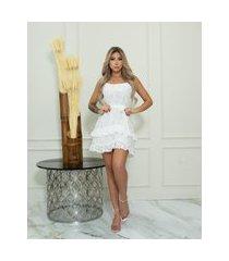 vestido miss misses renda com babadinho off-white