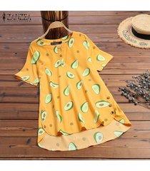 zanzea verano de las mujeres de aguacate imprimir top tee camiseta de la moda del blusa de las señoras -amarillo