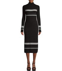stripe wool cashmere rib-knit turtleneck dress