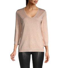 calvin klein women's dotted three-quarter sleeve top - blush - size s