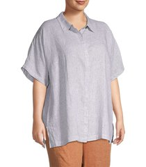 eileen fisher women's plus check organic linen shirt - white - size 3x (22-24)