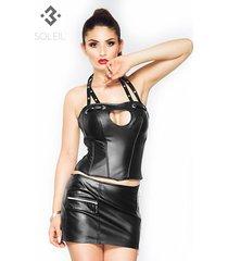 soleil by xxx collection zwarte leren mini rok met rits op zijkant