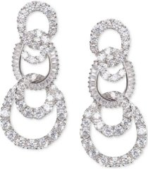 nina silver-tone pave swirl tiered drop earrings