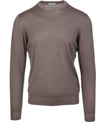 fedeli man round neck pullover in brown worsted wool