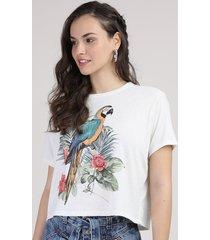 blusa feminina ampla arara com linho manga curta decote redondo off white