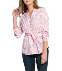 women's nic+zoe sail tie stripe blouse, size x-small - pink