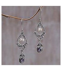 amethyst and pearl flower earrings, 'empress' (indonesia)