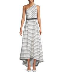 halston women's one-shoulder striped maxi dress - chalk black - size 10