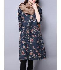 vestiti da stampa a maniche lunghe in o-collo da donna etnica