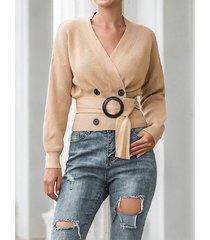 suéter de manga larga con cuello en v y diseño de cinturón informal