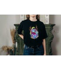 koszulka czarna damska oversize wolf