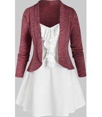 plus size shawl collar cardigan and jabot cami top set