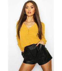 blouse met v-hals, mosterd