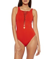 women's bleu by rod beattie knotted detail one-piece swimsuit, size 4 - red