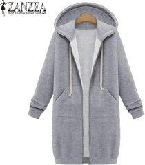 nueva llegada zanzea abrigos de invierno chaqueta mujer sudaderas con capucha largas abrigo casual cremallera prendas de abrigo sudaderas con capucha tallas grandes (gris) -gris
