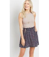 maurices womens blue printed mini skirt