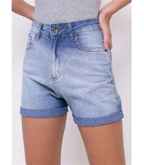 short hot pants jeans com barra dobrada