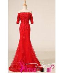 luxury mermaid prom gown,vintage mermaid dress,lace evening dress,red dress re24