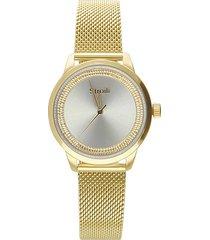 london 3h orologio in acciaio bicolore con quadrante diamantato silver e gold e bracciale gold per donna