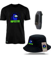 chapéu bucket e camiseta among us impostor preto com relógio