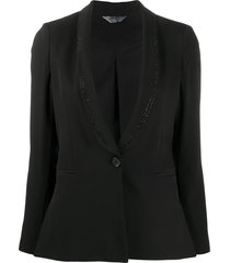 liu jo rhinestone-embellished fitted blazer - black