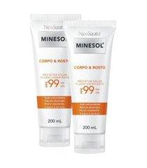 kit 2 protetor solar corpo e rosto neostrata minesol antioxidante fps 99 200ml
