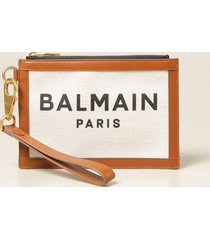 balmain clutch b-army balmain pouch in canvas and leather