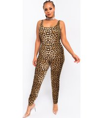 akira plus cute and casual sleeveless leopard print jumpsuit