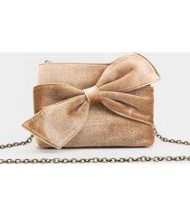 samara bow knot velvet clutch - champagne