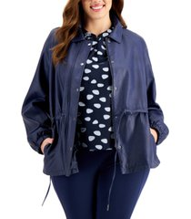 alfani plus size faux-leather drawstring jacket, created for macy's