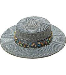 cloudy sky jeweled wheat straw hat