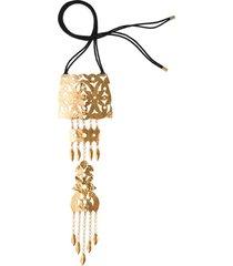 hammered gold crown necklace, women's, cotton, josie natori