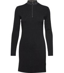 neck logo fitted sweater dress korte jurk zwart calvin klein jeans