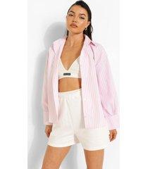 pastel geruite boxy blouse met zoom detail, pink